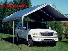 Canopy Drawstring Cover 10x20 Silver Carport Patio Party Shade Roof Rain Shelter #KingCanopy