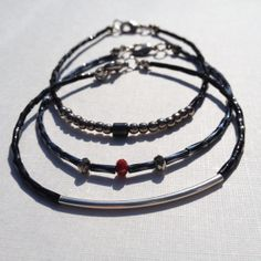 FREE SHIPPING-Mens Black And Silver Beaded Bracelet, Hematite, Steel Silver,Glass Bugle Beads, Accessories For Men