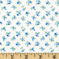 """108"""" Quilt Backing Rosebuds Blue from @fabricdotcom  This extra wide quilt backing fabric is ultra soft with a calico print. Perfect for quilt backings, duvets, curtains, even dresses, skirts and shirts. Colors include green and blue on a solid white background."""