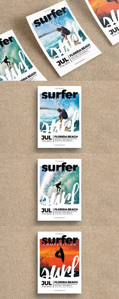 Surfing Flyer Template AI, PSD A4
