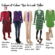 How to Look Taller Using a Column of Colour - Inside Out Style. I particularly like the outfit from the left, purple cardigan + skinny jeans. Petite Fashion Tips, Fashion Advice, Look Fashion, Womens Fashion, Fashion Design, Fashion Trends, Curvy Fashion, Fashion Bloggers, Fall Fashion