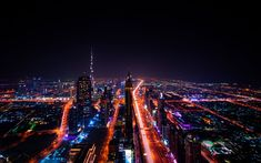 Download wallpapers Dubai, 4k, Burj Khalifa, nightscapes, modern buildings, traffic lights, skyscrapers, UAE