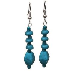 Teal Glass Pebbles Earrings Handmade and Fair Trade. Global Mamas' beads are handmade from recycled glass using ancient traditions. Ear wires are surgical steel. Approximately 1.5 inches long.