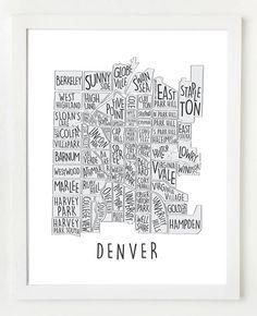 Denver Neighborhood Map Wall Art Print by OwlYouNeedIsLoveShop