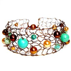 Fall 2013 Copper Chocolate Brown Turquoise Beaded Cuff Bracelet
