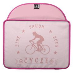 Lady's Live Laugh Love Cycle text (pink) Sleeve For MacBook Pro - love gifts cyo personalize diy