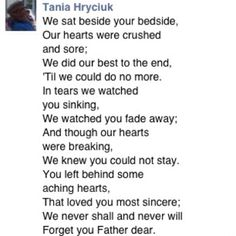 Poem for my dad after he passed away from cancer. :