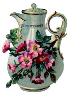 Chocolate deserves a pot too.French Chocolate Pot with Roses - The Graphics Fairy French Chocolate, Chocolate Pots, Vintage Ephemera, Vintage Tea, Decoupage, Antique Pictures, Teapots And Cups, Teacups, Graphics Fairy