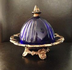 """Vintage Bohemian Glass Covered Candy Butter Dish Cobalt Blue w Gold Marked """"D"""""""