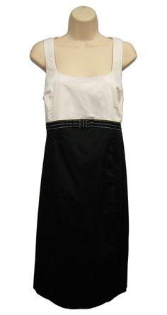 MOTHERHOOD MATERNITY Black White Dress Sleeveless Tie Back Square Neck L Large…