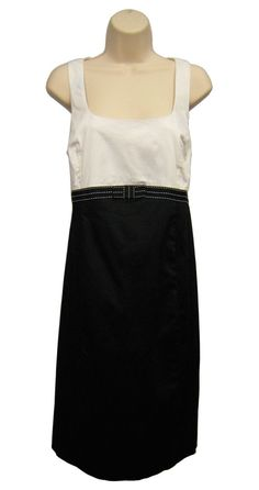 MOTHERHOOD MATERNITY Black White Dress Sleeveless Tie Back Square Neck L Large…
