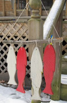 Reclaimed wood Fish Wall Hanging. Custom Made. Rustic Lake Decor.