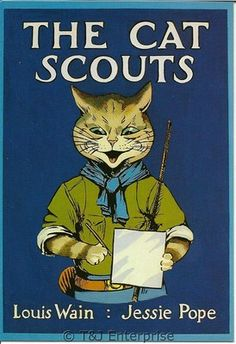 """Louis Wains Cats Postcard - """"The Cat Scouts postcard  (Unused/Not Posted)"""