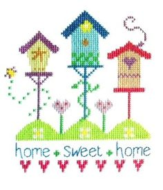 "Pretty Birdhouses Cross Stitch (CSKPB179)   Home Sweet Home sampler cross stitch kit designed by The Stitching Shed. Simple design so maybe suitable for beginners depending on their ability.   Contents: 14 count aida fabric, anchor threads, chart and full instructions.    Size: 5.5"" x 8"".    *Usually dispatched within 5 working days*   See the full range of kits by The Stitching Shed"
