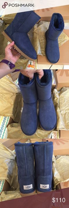 UGG authentic classic short navy boot Sz 10 new UGG authentic classic short navy boot Sz 10 new 100% authentic , QR reader scannable tag for authenticity and I keep proof of authenticity straight from Ugg . PLEASE NO LOWBALLING & NO TRADES ****PRICE IS FIRM*** UGG Shoes