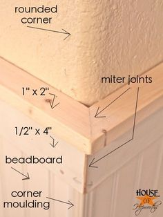 bathroom makeover, phase Hanging beadboard and trim How to hang Beadboard. Different layers of moulding labeled for easy understanding. How to hang Beadboard. Different layers of moulding labeled for easy understanding. Home Renovation, Home Remodeling, Bathroom Remodeling, Moldings And Trim, Crown Molding, Do It Yourself Home, Baseboards, Wainscoting, Diy Home Improvement