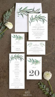 Lush greenery wedding invitation suite with gorgeous olive branches #weddinginvitation