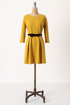 Anthropologie, Fluted Mustard Dress