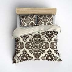 Featherweight Skull Bedding - Victorian Skull Pattern on Cream Fabric - Comforter Cover - Sugar Skull Duvet Cover, Sugar Skull Bedding Set Cream Bedding, Bedding Sets, Duvet Bedding, Comforter Cover, Duvet Covers, My New Room, My Room, Bungalow, Skull Decor