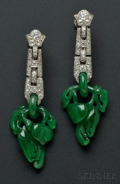 Art Deco Platinum, Jadeite, and Diamond Earpendants, Cartier