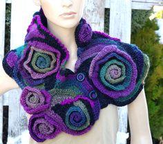 Crochet Scarf Capelet Woman winter fashion Neck Warmer by Freeform Crochet, Crochet Shawl, Crochet Scarves, Crochet Hooks, Scarf Design, Cowl Scarf, Capelet, Fabric Jewelry, Neck Warmer