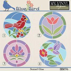 DIGITAL DOWNLOAD ... Stained Glass vectors in AI, EPS, GSD, & SVG formats @ My Vinyl Designer #myvinyldesigner #bluebird