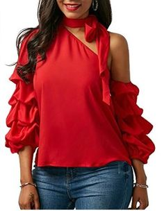 Women Blouse Designs, Women Blouses And Tops, Formal Blouses For Women Trendy Tops For Women, Blouses For Women, Blouse Styles, Blouse Designs, Casual Skirt Outfits, Mode Chic, Tie Neck Blouse, Red Blouses, Ladies Dress Design