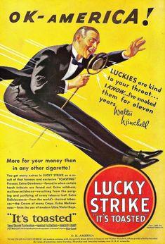 Pub Vintage Lucky Strike it's toasted Old Advertisements, Retro Advertising, Retro Ads, Pub Vintage, Vintage Signs, Vintage Posters, Vintage Stuff, Ford Fairlane, Vintage Cigarette Ads