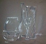 did this last year with my students in pencil...think I'll give this a try.....Artsonia Art Exhibit :: Glass Still Life/Value Drawing