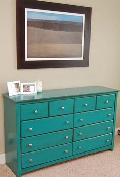 teal dresser... this is what I want to paint MY dresser. yesssss ...