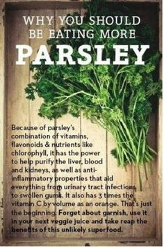 Parsley is extremely effective when it comes to removing mercury from the body. Grind it into a pesto with red pepper, garlic, olive oil and a few drops of lemon juice. Add this pesto to pasta, use it in sandwiches or as a marinade for fish. LIKE and SHARE if you find this information useful.