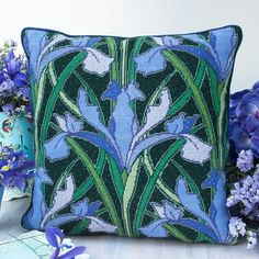 Irises - Ehrman Tapestry By Raymond Honeyman. x 45 cm x 45 cm. 12 holes per inch. Included in the Kit The kits include a cotton canvas printed in full colour, all the yarns required pure new wool), a needle and an e