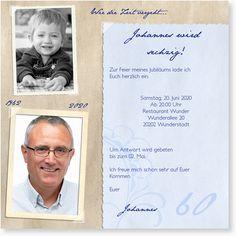 Geburtstagseinladung zum 60. Geburtstag - Erinnerungsalbum Mum Birthday, Birthday Parties, Diy Cards, Invitations, Graphic Design, Education, Humor, Creative, Party