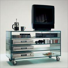 tonelli comò alto glass tv unit on castors by m. gaudenzi
