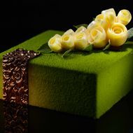 Akina (Green Tea Mango) Matcha tea biscuit base with mango compote and matcha tea mousse Gourmet Desserts, Fancy Desserts, Fancy Cakes, Plated Desserts, Beautiful Desserts, Beautiful Cakes, Amazing Cakes, Decoration Patisserie, Tea Biscuits