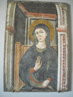 """Virgin Mary"" - taken fresco about 1320-1330 by follower of Pietro Cavallini - Naples, Castel Nuovo Museum   #TuscanyAgriturismoGiratola"