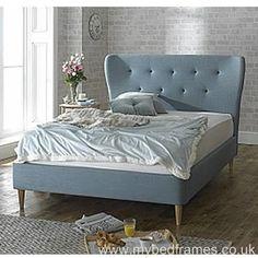 Cute 'Aurora' fabric #bed in duck egg blue. #bedroomdesign #retro