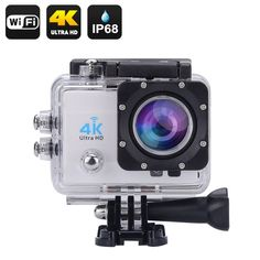 Generic Wi-Fi Waterproof Sports Action Camera - 2 Inch Lcd Display, Ultra Hd, Hdmi Out, 170 Degree Wide Angle (Silver) Bass Fishing Videos, Hunting Cameras, Usb, Sports Camera, Dashcam, Video Camera, Wide Angle, Wifi, Action