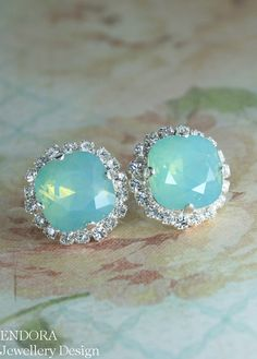 seafoam crystal earrings | swarovski pacific opal halo stud earrings | aqua wedding | seafoam wedding | coral and aqua | www.endorajewellery.etsy.com