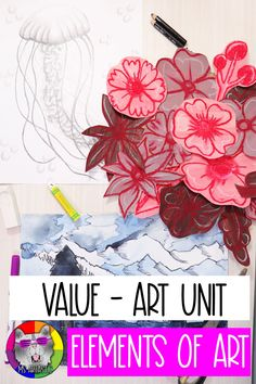 This is an Element of Art: VALUE - Art Unit! This full art unit will teach students about the Element of Art: VALUE, through a video presentation, informational handouts, a mini art challenge, and 3 FULL Art Project Tutorials (step-by-step slides to make your teaching a breeze! They even include lesson plans, rubrics, assessment, and bulletin board display signs).