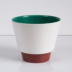 Cachepo tBruin Wit Groen ; 12,5 cm