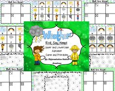 "Weather ""Roll, Say, Keep"" Alphabet. Uppercase, lowercase letters. Center, game, printables. Preschool, kindergarten, interventions, homeschool, special education. $"