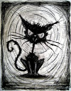 "Print 8x10"" - Black Cat - Halloween Cats Stray Spooky Alley Dark Art Pets Cute Animal Creepy Gothic Art Black and White Kitty"