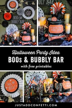 This Boos and Bubbly Bar would be such a great addition to any adult Halloween party. I love the idea of using a witch's cauldron as an ice bucket at the bar. When any decor item can also double as something useful it's a total win-win in my book! Grab th