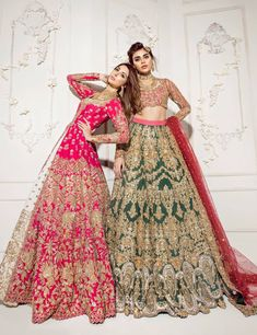 "Our two most favourite dresses out of the latest bridal couture collection ""Heritage which are flawlessly the… Pakistani Wedding Outfits, Pakistani Wedding Dresses, Bridal Outfits, Indian Dresses, Indian Outfits, Punjabi Wedding, Bridal Mehndi Dresses, Bridal Dress Design, Designer Bridal Lehenga"