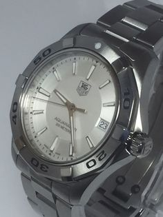 Tag Heuer Aquaracer Swiss Watch Men's Silver Tone WAP1111 S\S 300M (D235) #TAGHeuer #Dress