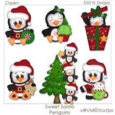 SCRAPBOOKING DIGITAL CLIPART Santa dulce pingüinos por BoxerScraps