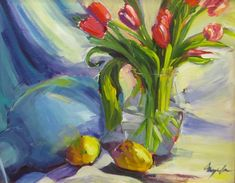 Original Impressionist Acrylic Painting of Still Life, Fine Art with Flowers, Tulips, Lemons 16 x 20 framed by Angela Tommaso Hellman