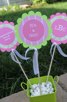 3 Centerpiece Sticks  Girls Baby Shower by sosweetpartyshop