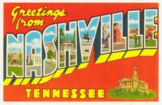 The classic must have vintage travel postcard. Greetings from Nashville Giclée Canvas by cheeseboyproducts Spot Illustration, Posca Art, Gatlinburg Tennessee, Big Letters, Destin Florida, Postcard Design, Vintage Postcards, Photo Postcards, Vintage Travel